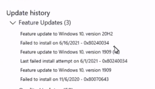 """Machine generated alternative text: update history  v Feature Updates (3)  Feature to 2042  Failed to install on • ox8024C034  Feature to vetsion  attempt on """"'1/2021 -  to version  Failed to install on '1/6/2020 . oxn70643"""